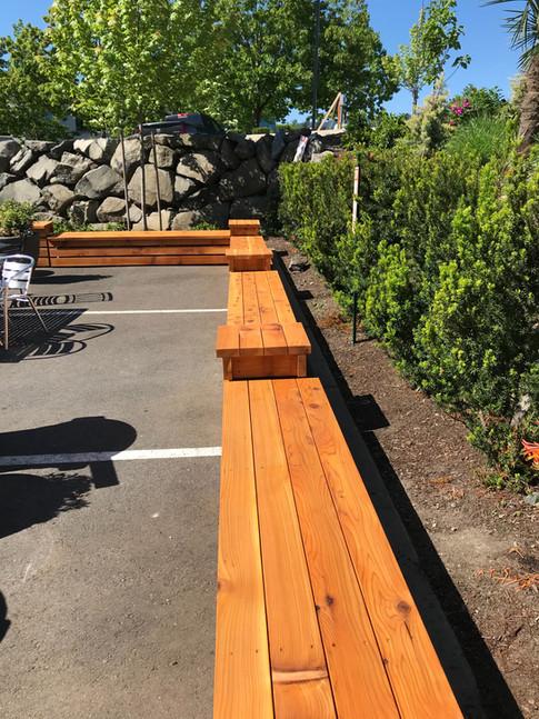 Cedar patio benches and tables