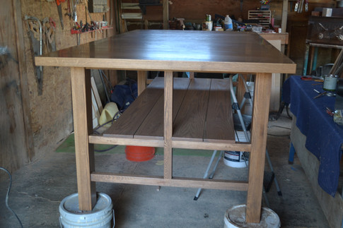 Oak kitchen island repurposing the client's heirloom family tabletop