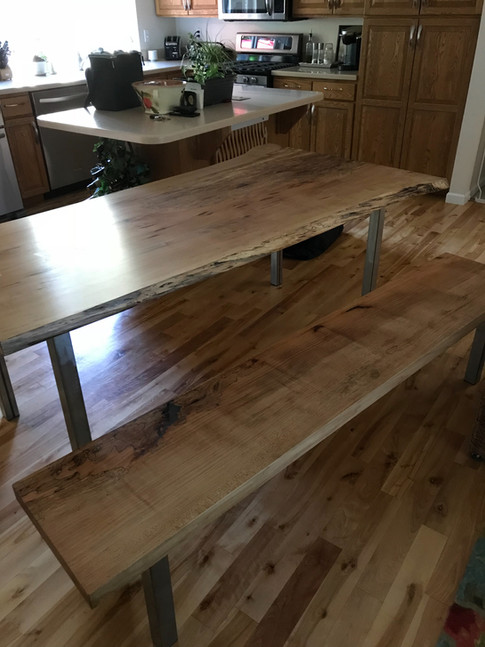 Spalted maple table and matching bench