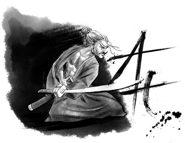 Ronin Anwar Art Ink Wash Sumi-E Samurai