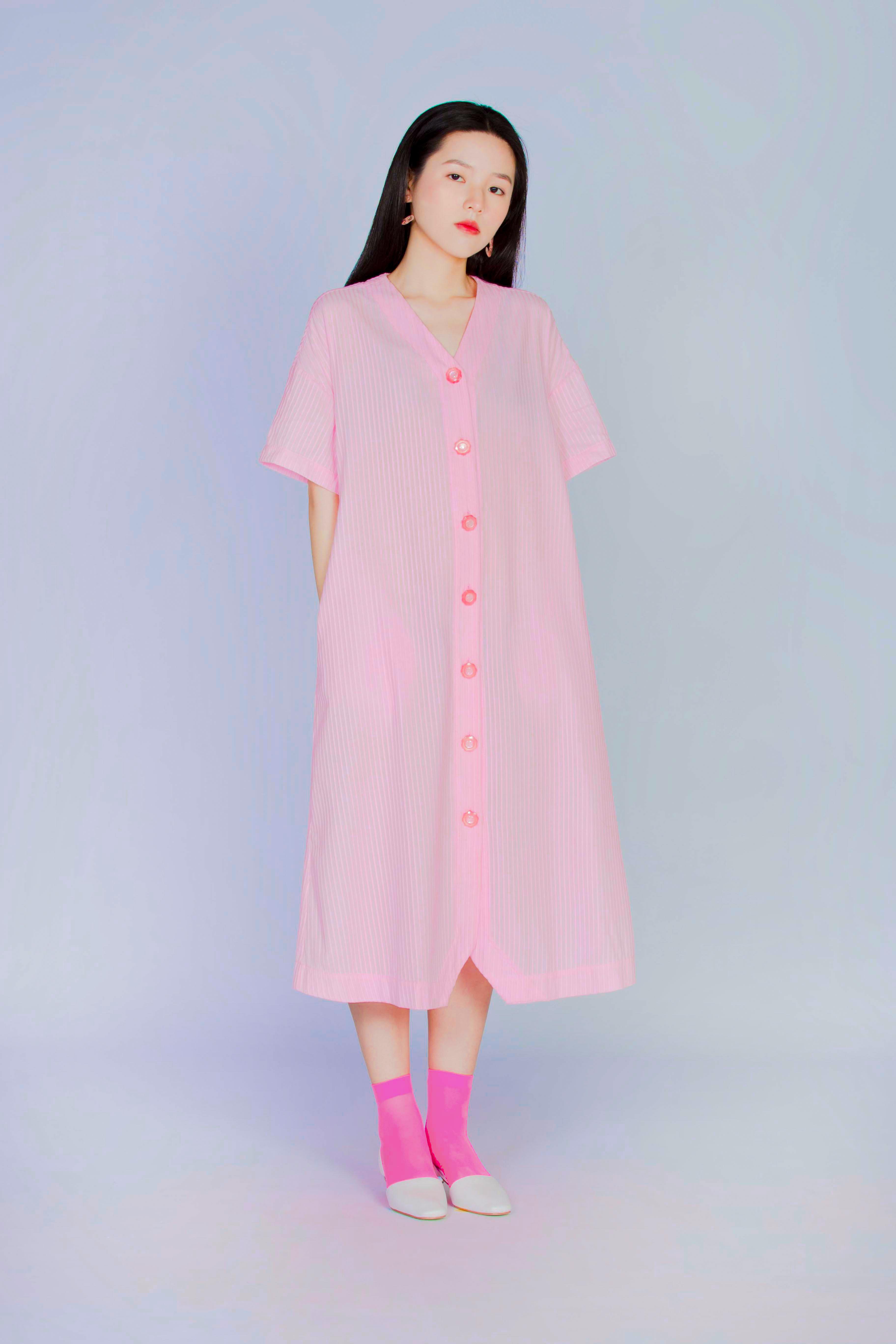粉框框 - 短袖長版襯衫