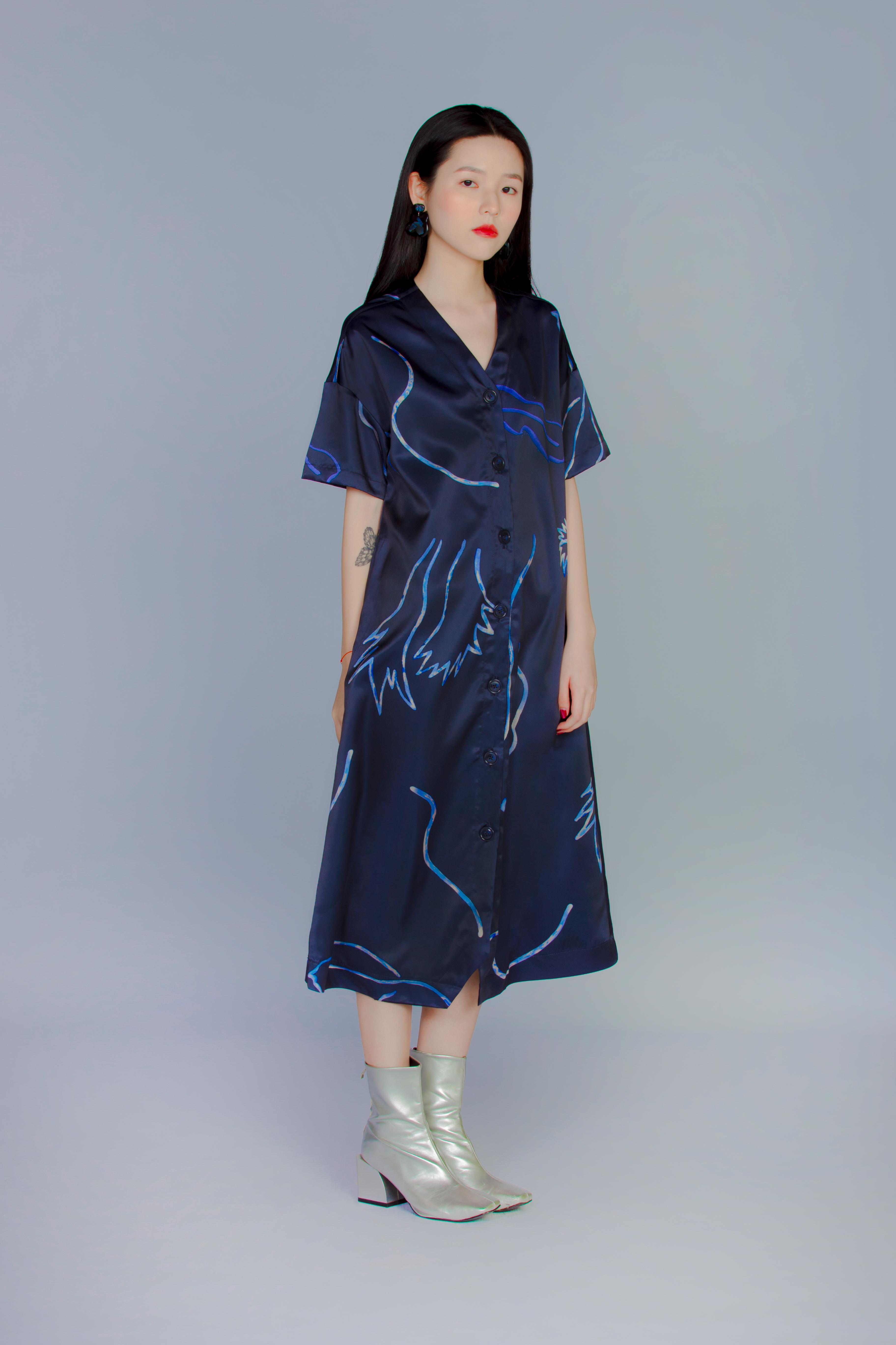 普朗克藍蕨 - 短袖長板襯衫