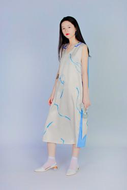 波耳粉蕨類 - 後背拼接洋裝