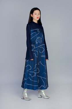 漸變葉脈 /藍 - 透膚拼接洋裝