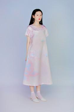 量度粉礦石 - 短袖連身洋裝