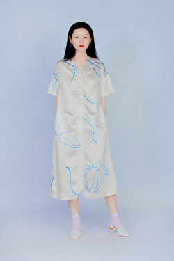 波耳粉蕨類 - 短袖長板襯衫