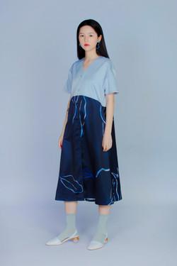 普朗克藍蕨 - 上下拼接洋裝