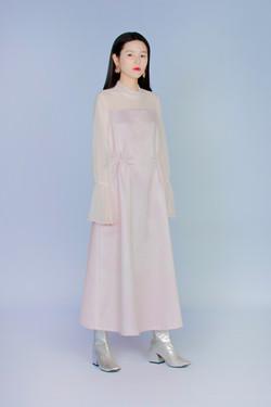 亞磁矩 - 透膚拼接洋裝
