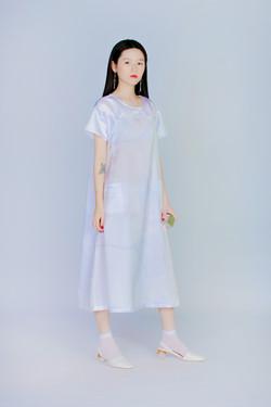 量度紫礦石 - 短袖連身洋裝
