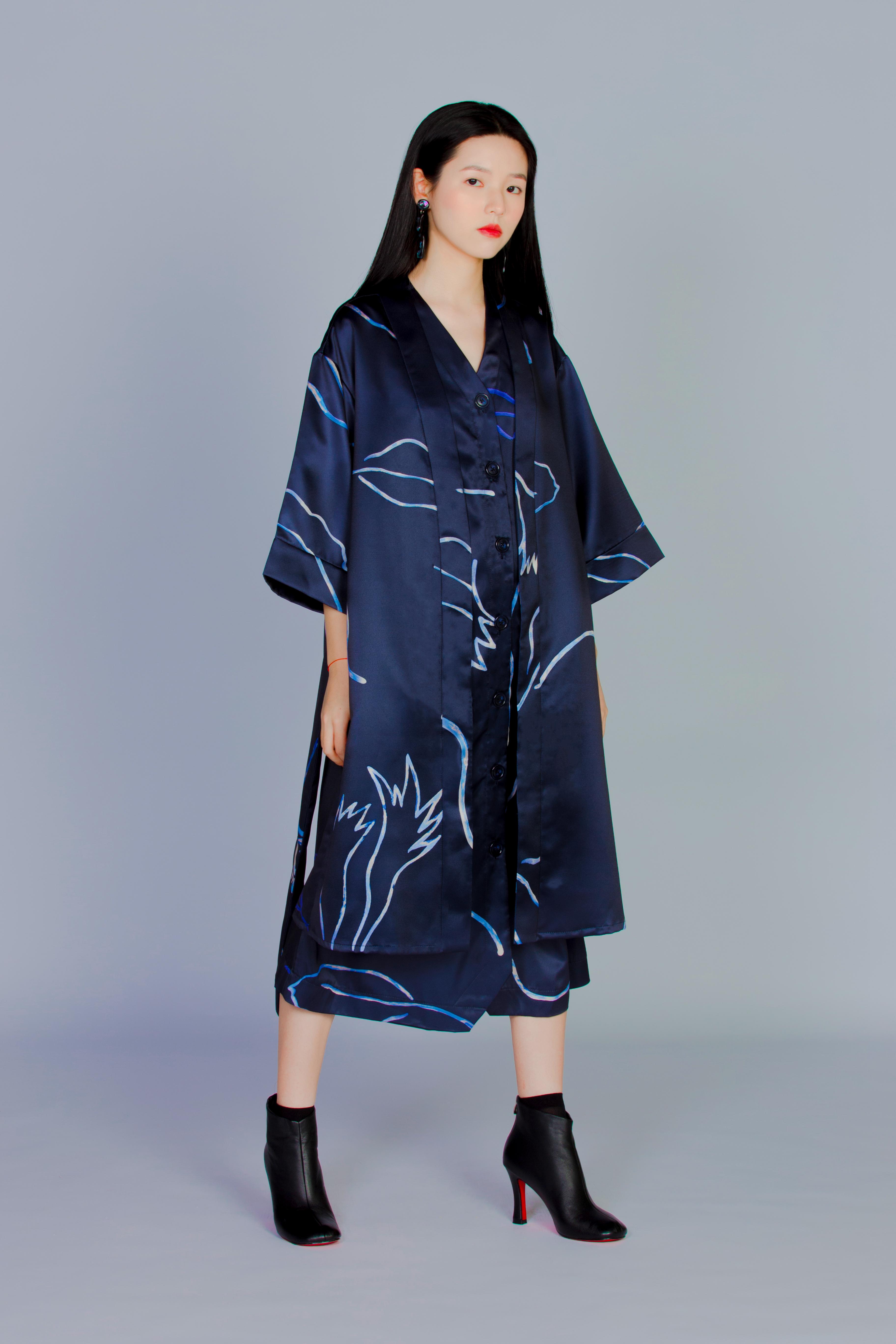 普朗克藍蕨 - 和式罩衫