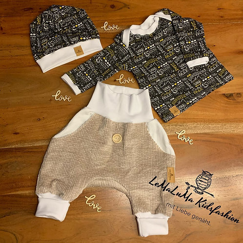 Knickerbocker, langarm Shirt & Mütze/Latz