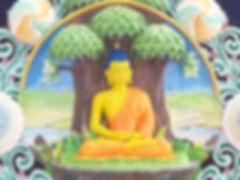 Torma von Gautama Buddha meditiert unter dem Bodhi-Baum. Buddhistisches Meditation Seminar mit Mahametta