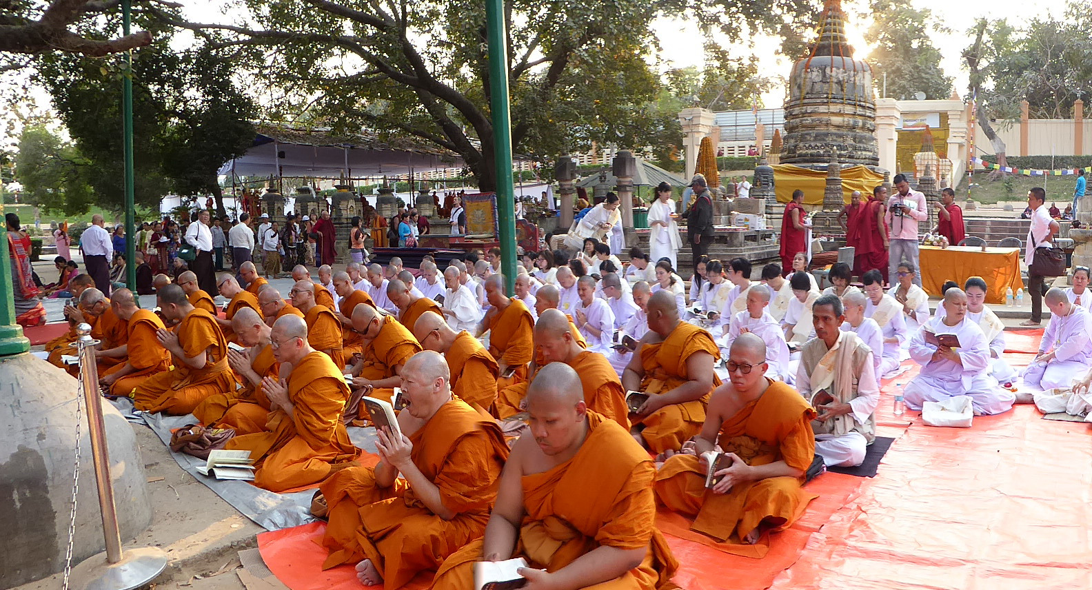 Buddhist devotees from Thailand under the Bodhi Tree