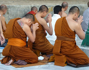 Buddhist monks offering prayers to the Stupa in Bodhgaya. MahaMetta spiritual Travels