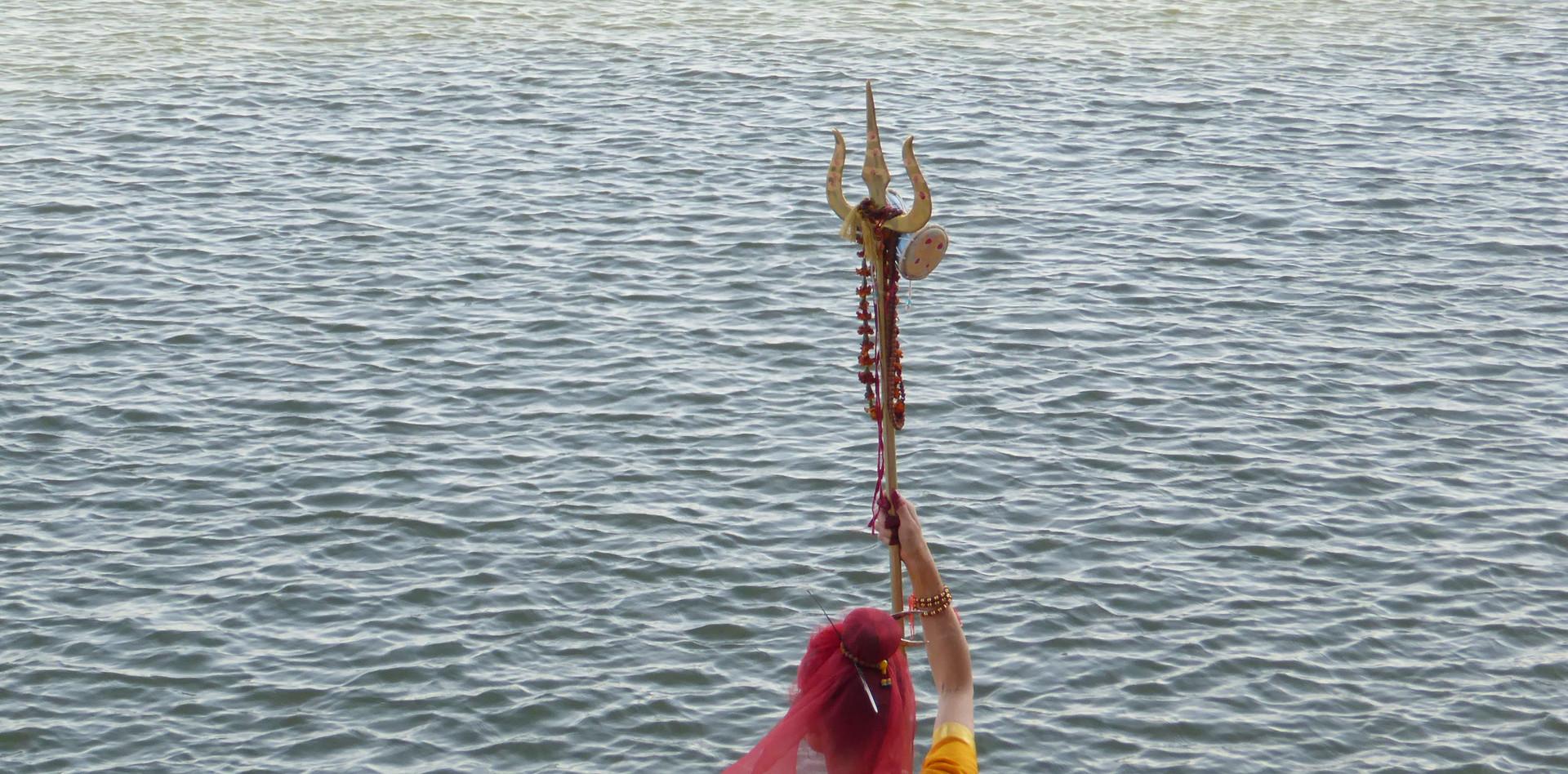 Meditating by the Ganges in Varanasi