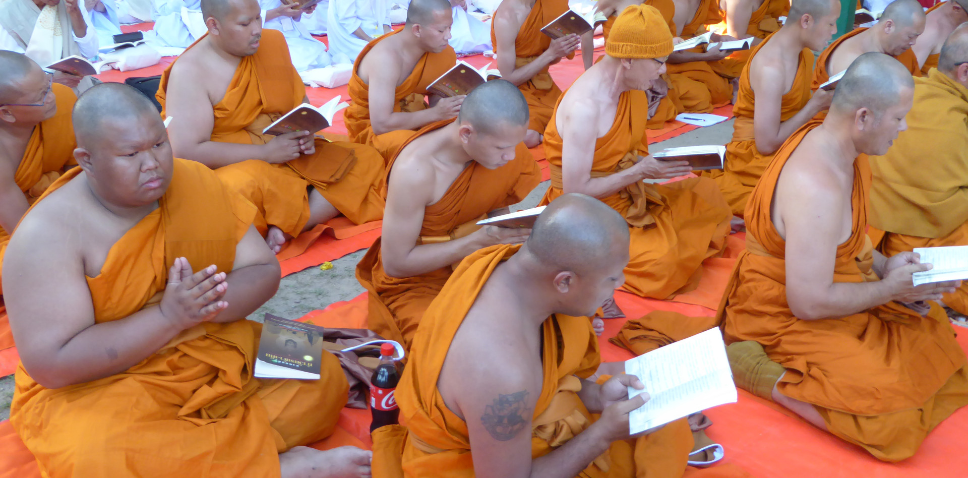 Thai monks meditating