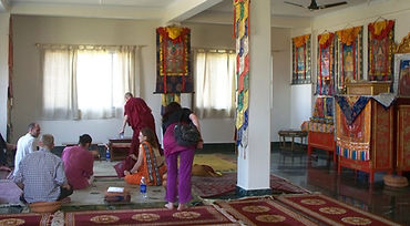 Meditation room in Sarnath, India. Workshop about Buddhist Meditation with Mahametta Akademie