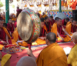 Tibetan monks during a ceremony in Bodhgaya, India. MahaMetta Spiritual Travels
