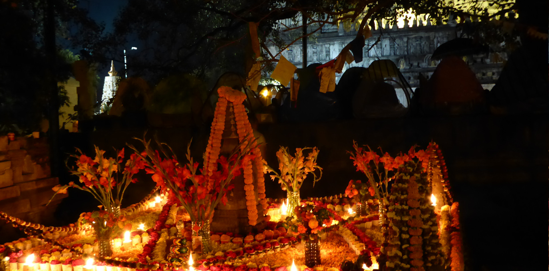 Night offerings in Bodhgaya