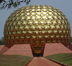 Matrimandir, the geographical and spiritual heart of Auroville, India. MahaMetta Spiritual Travels
