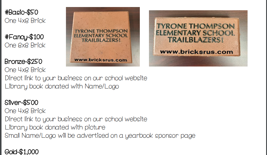 Brick & T-shirt Fundraiser!
