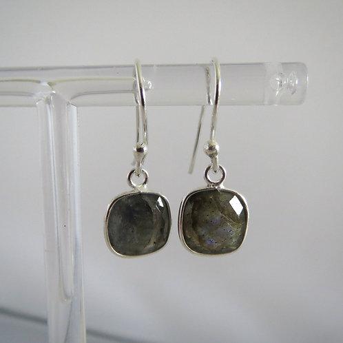Square Stone Drop Earrings - Labradorite