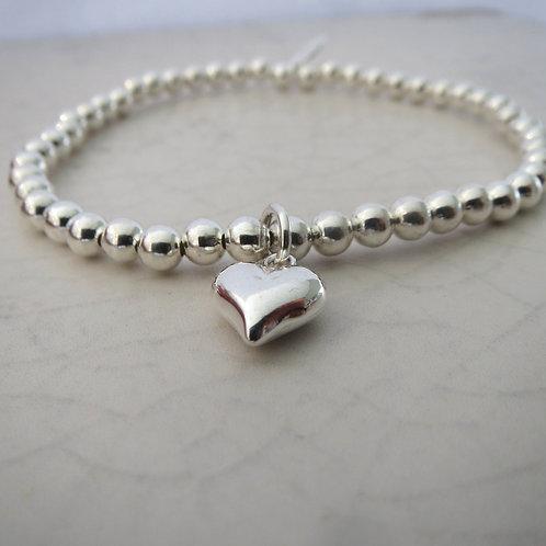 Beaded Stretch Bracelet - Heart