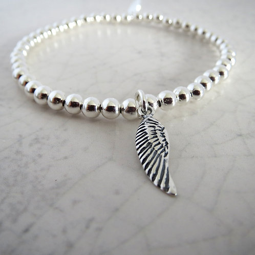 Beaded Stretch Bracelet - Angel Wing
