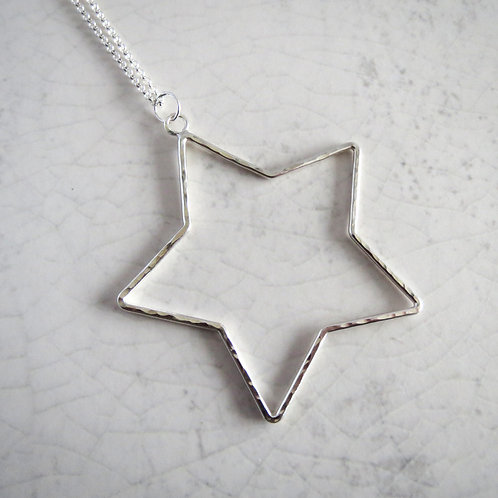 Wire Star Long Necklace