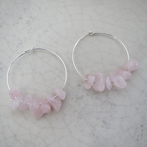 Semi-Precious Chips Hoop - Rose Quartz