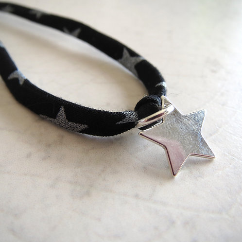 Liberty Fabric Bracelet - Black Star