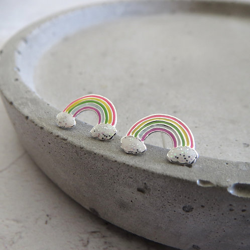 Glitter Cloud Rainbow Stud