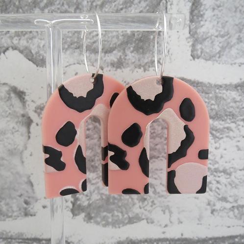 Pink Leopard Drop Earring (hoop or hook)