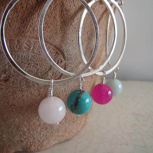 Semi-Precious Bead Hoop Drop Earring