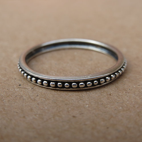 Oxidised Beaded Band Ring