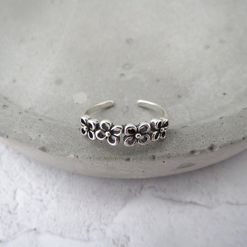 Half Flower Toe Ring