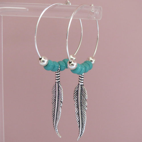 Beaded Feather Hoop - Large