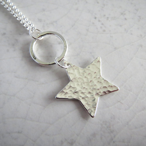Hammered Hanging Star Long Necklace