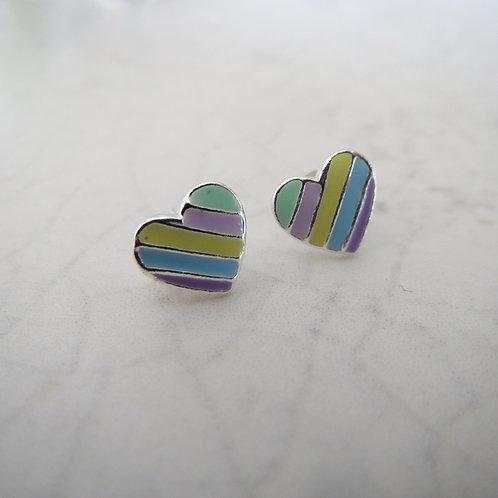 Stripy Heart Stud - Pastel