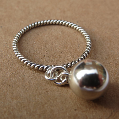 Twisted Band Ring with Drop Ball
