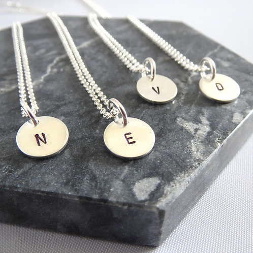 Hand Stamped Initial Necklace N-Z