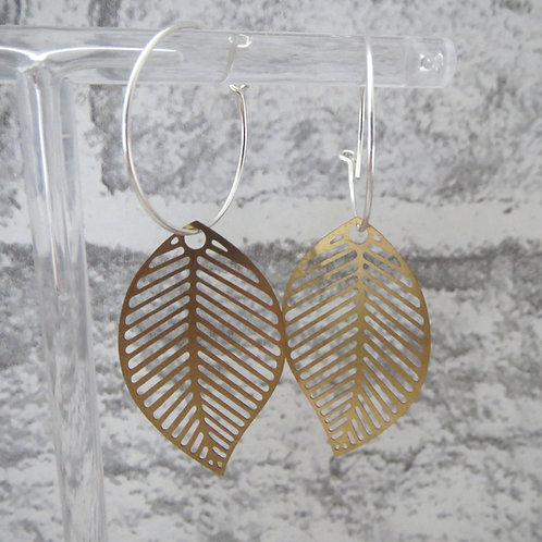 Brass Leaf Hoop