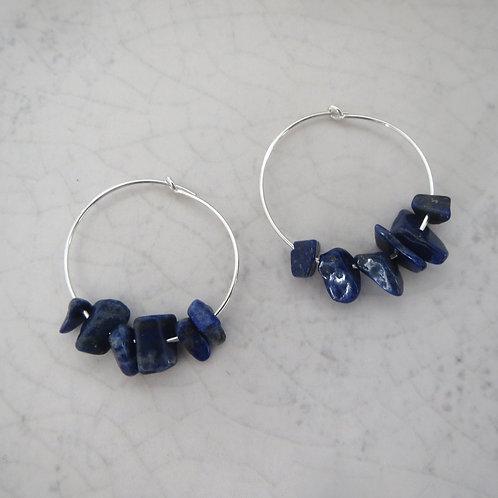 Semi-Precious Chips Small Hoop - Lapis Lazuli