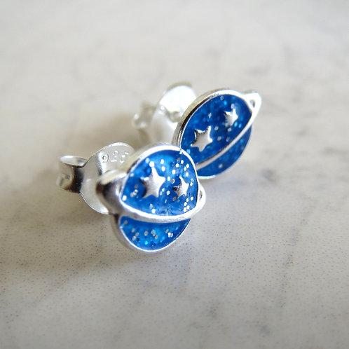 Planet Stud - Blue Glitter