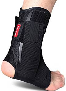 Kuangmi Ankle Brace Lace Up with Side Stabilizers and Cross Auxiliary Fixing Belt