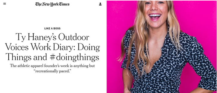 Ty Haney's Outdoor Voices Work Diary: Doing Things and #doingthings