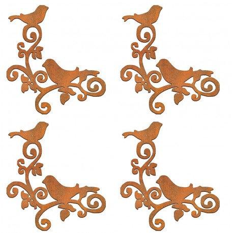 Conjunto 4 esquinas pájaros Siluetas DM 6x6