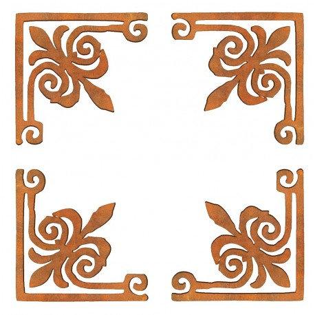 conjunto 4 esquinas flor de Lis Siluetas DM 6x6