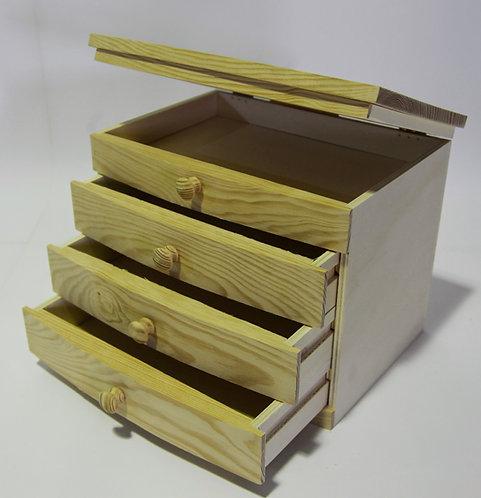 Caja 3 cajones con tapa 31x26x23