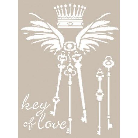 Stencil KEY OF LOVE 21x30